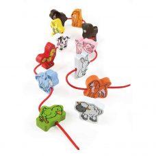 Hape - 12 Animales en madera para enlazar