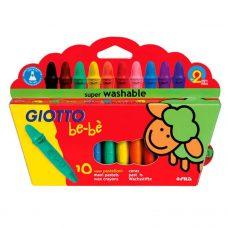 Giotto Be-bé - Crayones de Cera Lavables x10 + Sacapuntas